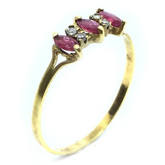 Anel em ouro 18k com diamantes e rubis Diamante na Monte Blanco ede393ac32