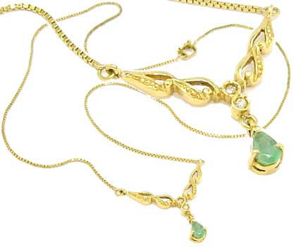 2ccabc741d63e Gargantilha em ouro 18k - Feminina - com esmeralda e diamantes ...