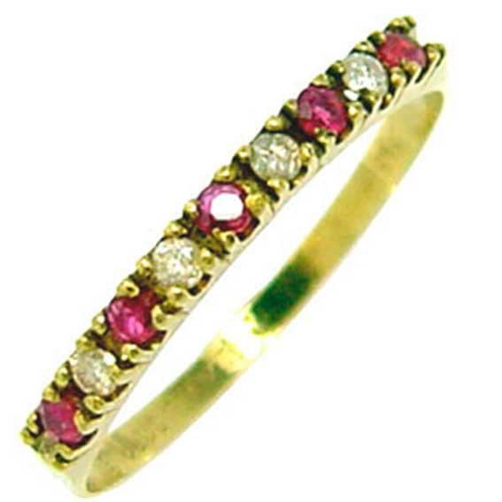 Meia aliança de rubis e brilhantes em ouro 18k Rubi na Monte Blanco fe5b0fe562