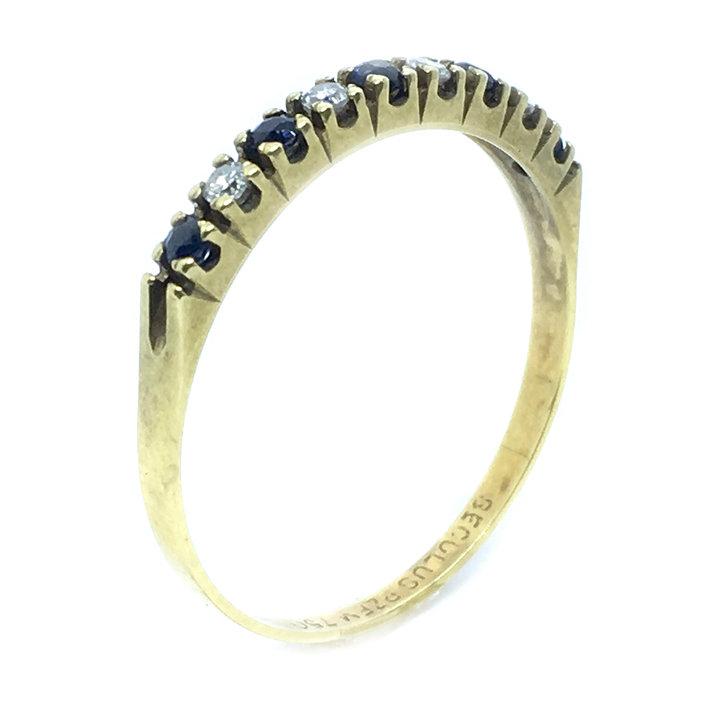 b0dfc819beb17 Meia aliança de safiras com brilhantes em ouro 18k - 1MBS0005 Safira ...