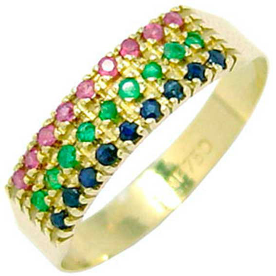 220c3f69a739f Meia aliança de esmeralda, safira e rubi em ouro - 2MPE0004 ...
