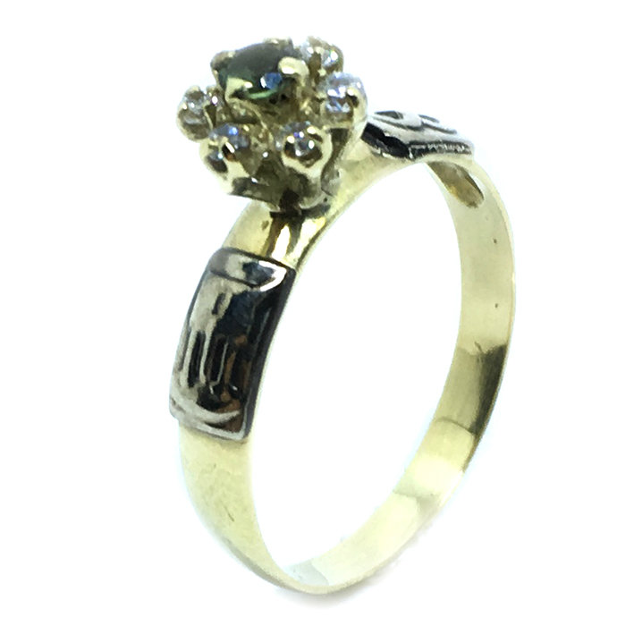 Anel chuveiro de ouro 18k com diamantes e esmeralda - 2ABE0012 ... 945cbe7af5