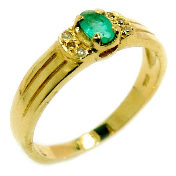 Anel em ouro 18k com diamantes e esmeraldas - 2ABE0063 Esmeralda na ... f22e93ca93