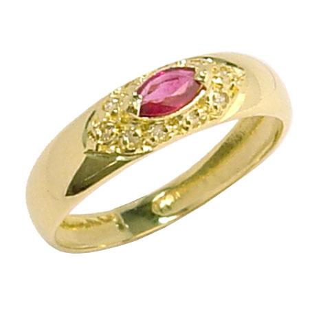 Resultado de imagem para anel de ouro com brilhantes e um rubi