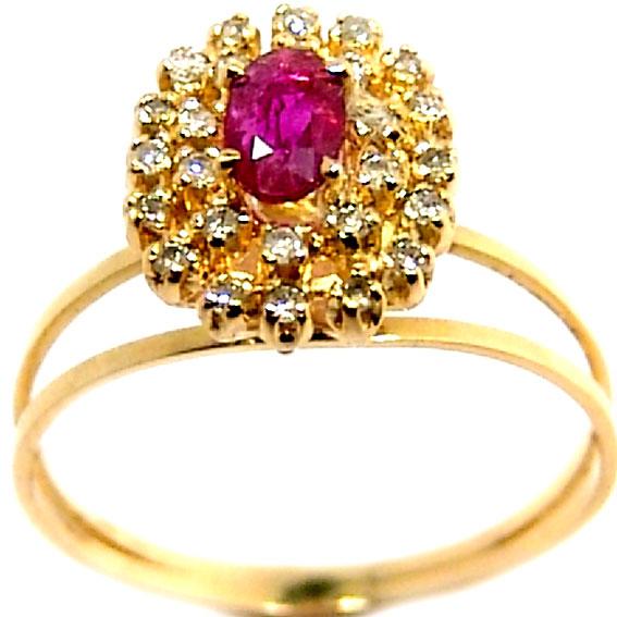 Anel chuveiro de ouro 18k com diamantes e rubi - 2ABR0012 Rubi na ... 965153a5b0