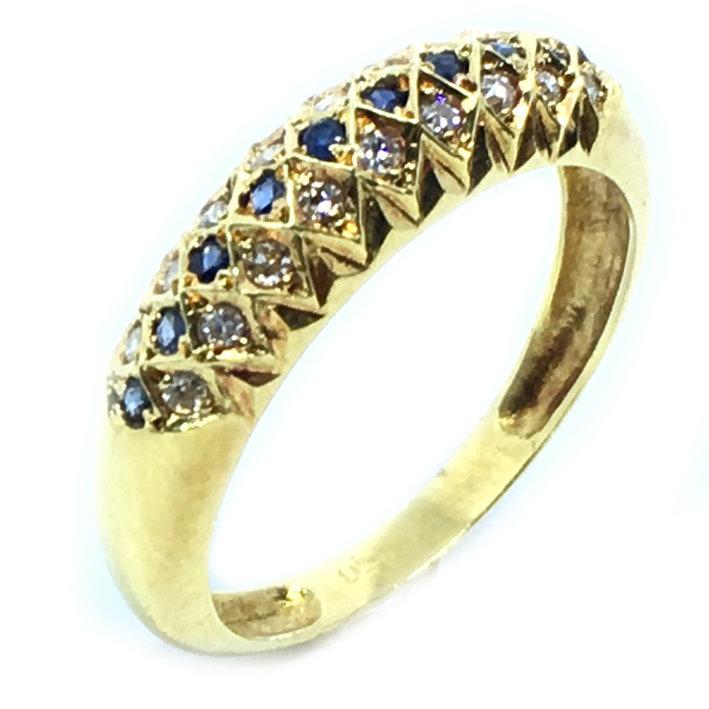 123fa6834e615 Anel em ouro 18k com brilhantes e safiras azuis - 2ABS0011 Safira na ...