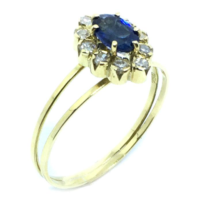 b47b5aaa471 Anel chuveiro de ouro 18k com diamantes e safira - 2ABS0069 Safira ...