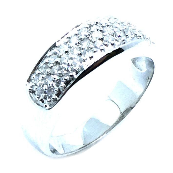Anel em ouro branco 18k com brilhantes - 2ANB0352 Diamante na Monte ... 735f73b2e4