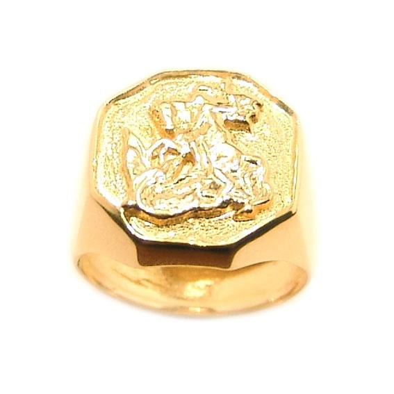 bda8642a4a23e Anel de ouro 18k masculino - São Jorge Ouro Amarelo na Monte Blanco