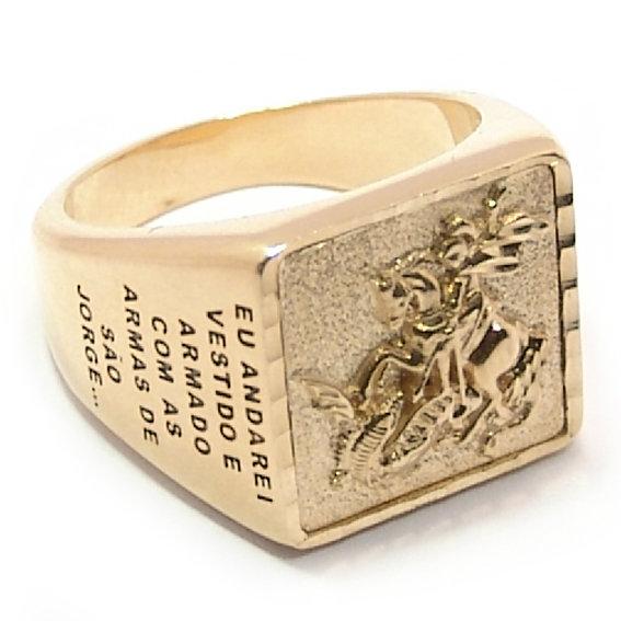Anel de ouro 18kt masculino - São Jorge - 2ANO0516 Ouro Amarelo na ... 1124022d2e