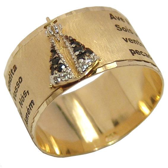 32b467e46a613 Anel em ouro 18k com safira -N.Sra.Aparecida - 2ANS0008 Safira na ...