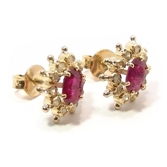 19e3fe68243 Brinco em ouro 18k feminino com brilhantes e rubis Rubi na Monte Blanco