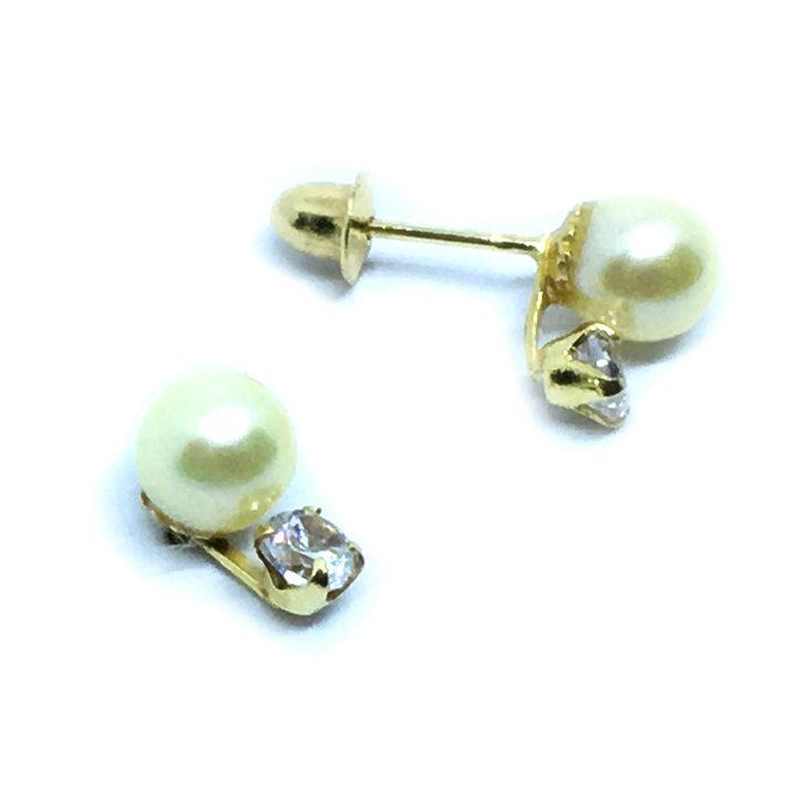 6665f5a4712 Brinco em ouro amarelo 18k feminino com pérola e zirconia - 2BPP0038 ...