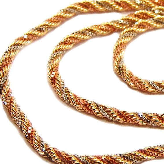 Cordão de ouro 3 cores 18k - Tipo corda - Feminino - 45 cm Ouro ... bf6983a5cf
