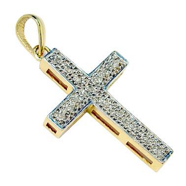 Crucifixo em ouro amarelo e branco 18k com diamantes Diamante na ... 1708740913