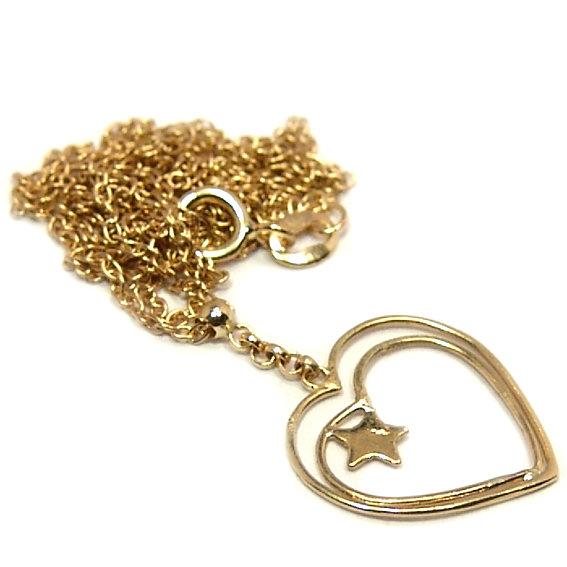 Gargantilha em ouro amarelo 18k - Feminina - Pingente coração vazado ... 6d3ed47c3d