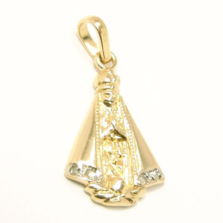 Medalha de Nossa Senhora Aparecida em ouro 18k Diamante na Monte Blanco 61abab83ad