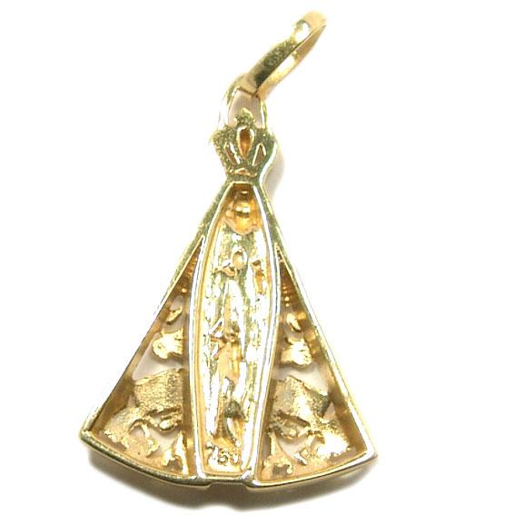 5e15cd9e456a7 Pingente N. Sra. Aparecida em ouro 18k Ouro Amarelo e Branco na ...