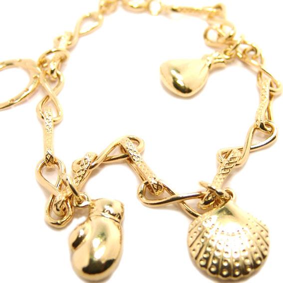 Pulseira feminina em ouro 18k com pingentes Ouro Amarelo na Monte Blanco c970a84975