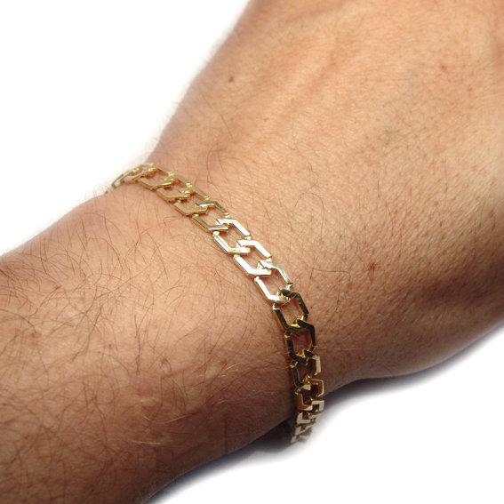 fc417d47df539 Pulseira masculina de ouro 18k - Elos trapezios maciços Ouro Amarelo ...