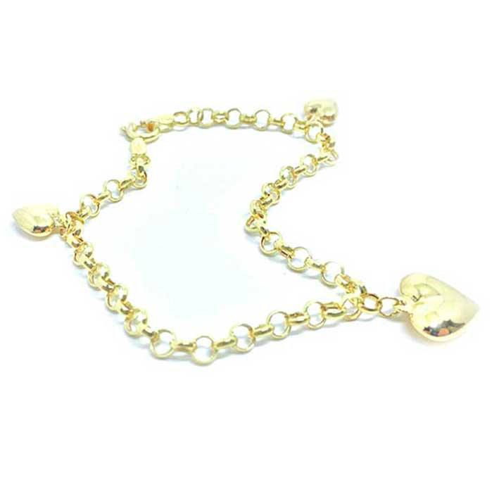 Pulseira feminina em ouro 18k com pingentes - 2PUO0642 Ouro Amarelo ... 009a282724